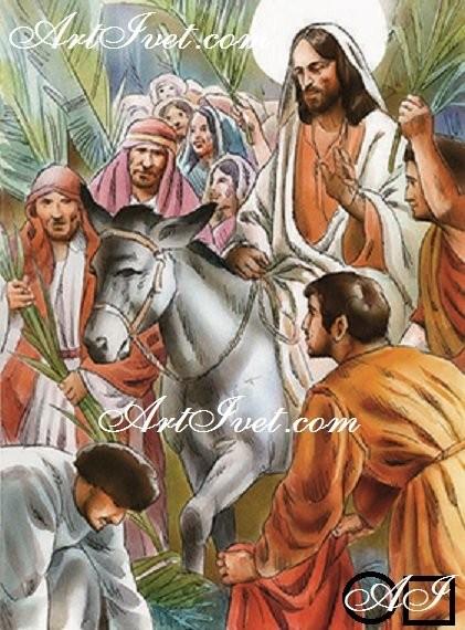 Диамантен  гоблен  ИСУС ВЛИЗА В ЙЕРУСАЛИМ КАТО ЦАР: Размер и Вид - Квадратни диаманти 48х36
