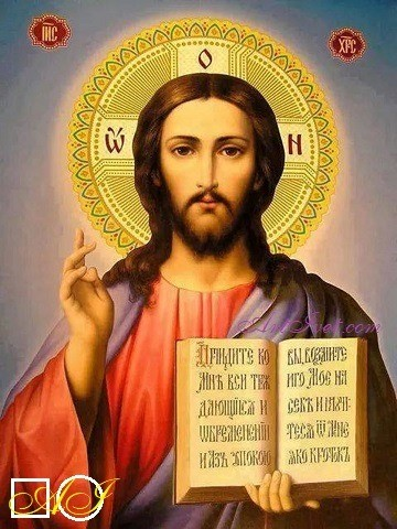 Диамантен  гоблен   СВЕТЛИНАТА ОТ ИСУС: Размер и Вид - Кръгли диаманти 32х24