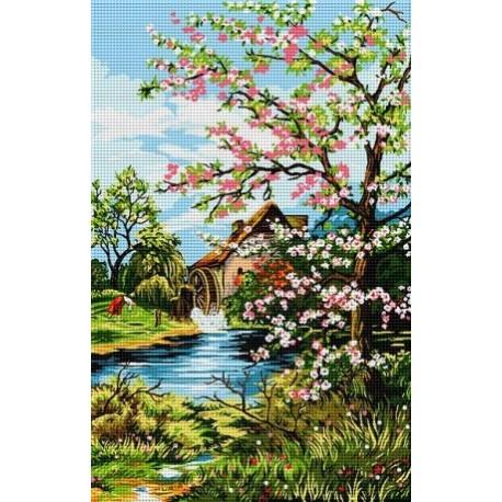 Гоблен със схема Пролет край воденицата