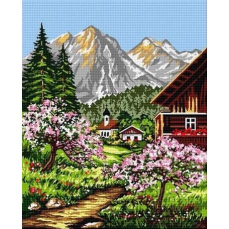 Гоблен със схема Пролет в планината