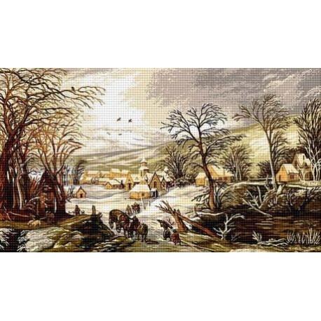 Гоблен със схема Зимен ден в моето селце