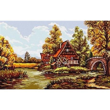 Гоблен със схема Пейзаж с воденица