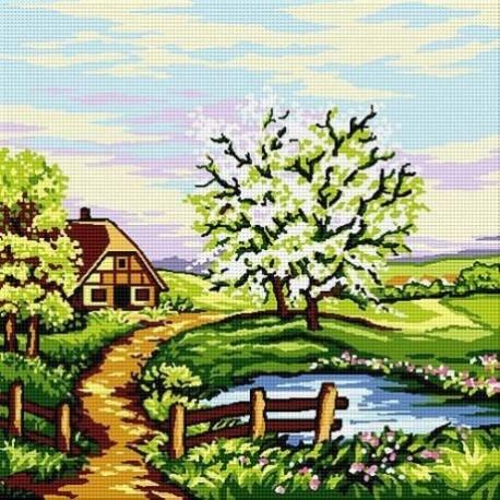 Гоблен със схема Пролет край езерцето