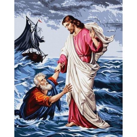 Гоблен със схема ПЕТЪР И ИСУС В МОРЕТО