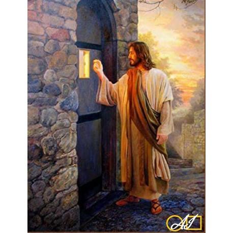 Диамантен гоблен ИСУС ЧУКА НА ВРАТАТА