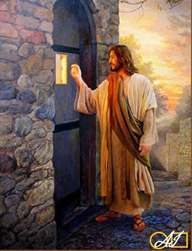 Диамантен  гоблен   ИСУС ЧУКА НА ВРАТАТА: Размер и Вид - Квадратни диаманти 40х30