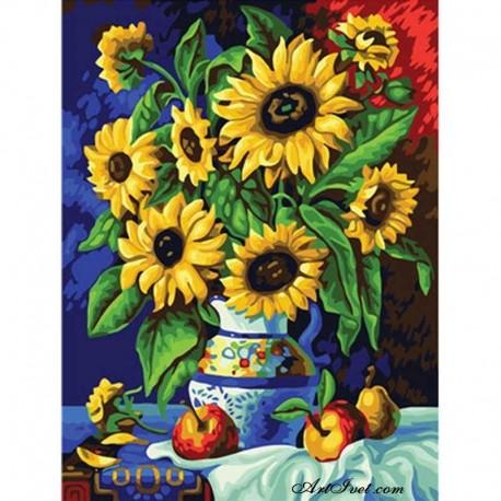 Рисуване по Номера (пълен комплект) -Арабска ваза със слънчогледи