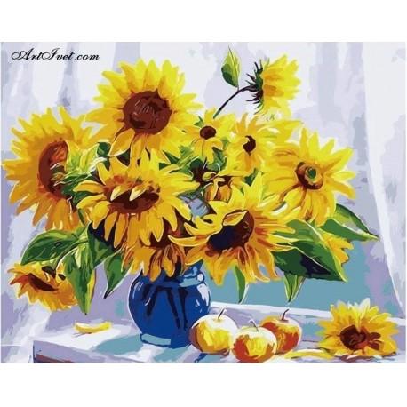 Рисуване по Номера (пълен комплект) -Букет слънчогледи до прозореца