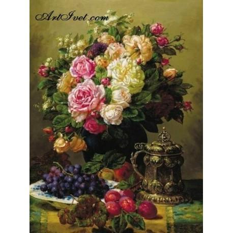 Рисуване по Номера (пълен комплект) -С вкус на грозде и мирис на рози