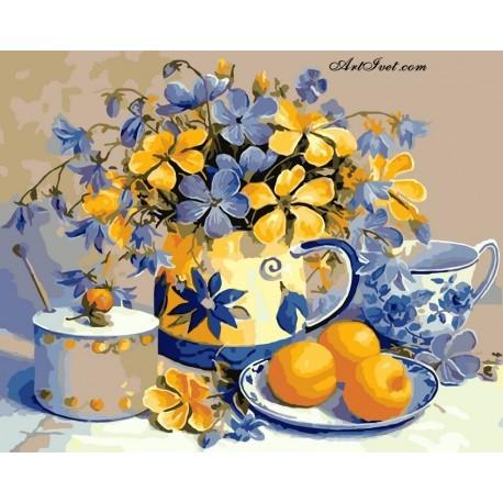 Рисуване по Номера (пълен комплект) -Цветя и плодове върху маса