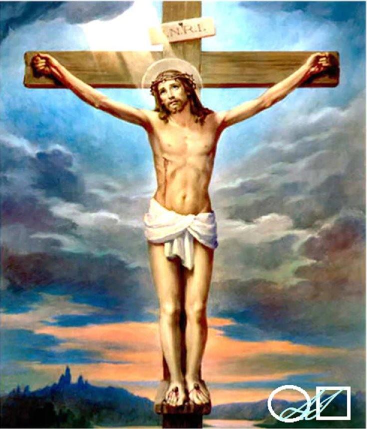 Диамантен  гоблен   ИСУС НА КРЪСТА: Размер и Вид - Кръгли диаманти 25х20