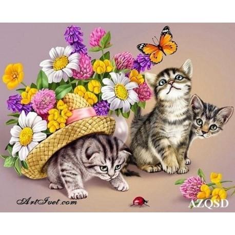 Рисуване по Номера (пълен комплект) -Цветя и котенца