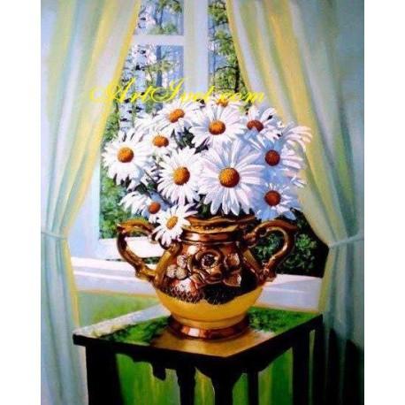 Рисуване по Номера (пълен комплект) - Маргарити до прозореца