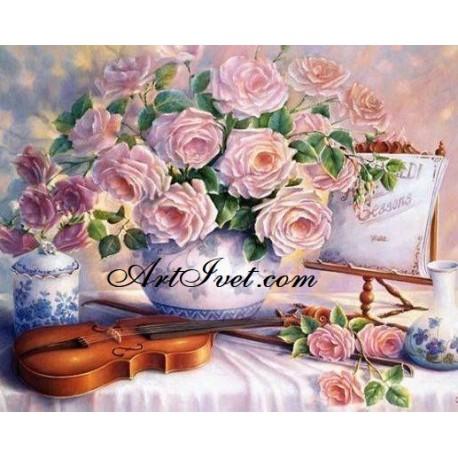 Рисуване по Номера (пълен комплект) - Цигулка, чай и цветя
