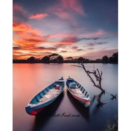 Рисуване по Номера (пълен комплект) - Лодки и розови облаци