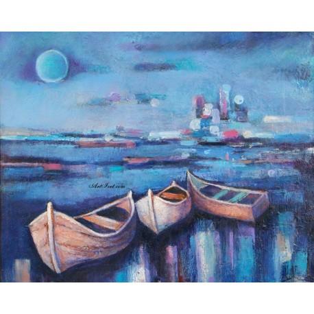 Рисуване по Номера (пълен комплект) - Лодки, готови за път