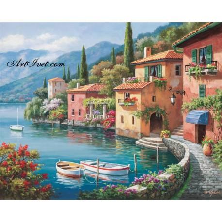 Рисуване по Номера (пълен комплект) - Италианско селце до езерото