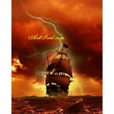 Рисуване по Номера (пълен комплект) -Огнена буря в морето