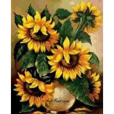 Рисуване по Номера (пълен комплект) - Слънчогледови поздрави от лятото
