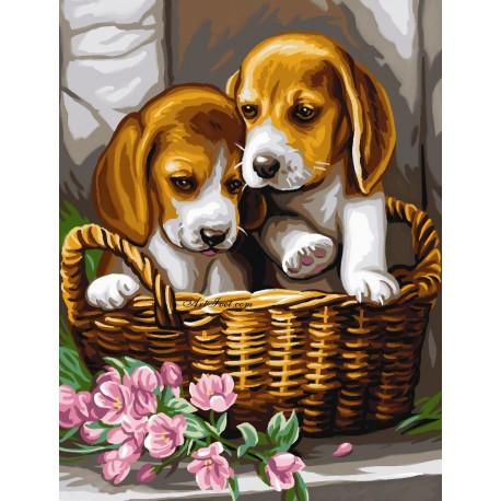 Рисуване по Номера (пълен комплект) -Кученца бебета в кошница