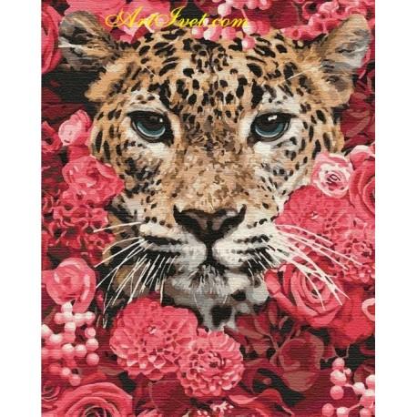 Рисуване по Номера (пълен комплект) -Тигър в храсталака