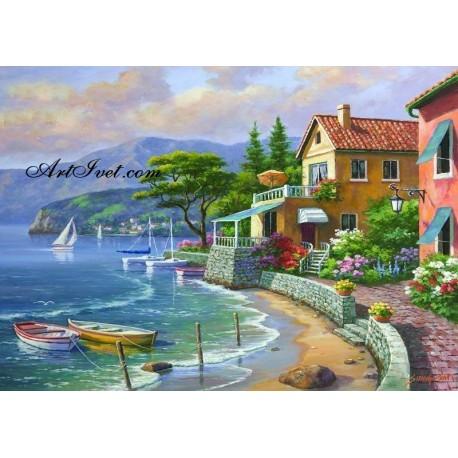Рисуване по Номера (пълен комплект) -Къщите до плажа