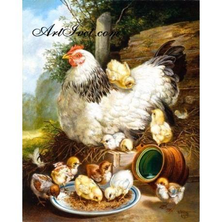 Рисуване по Номера (пълен комплект) - Кокошка и пиленца