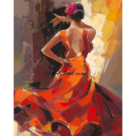 Рисуване по Номера (пълен комплект) - Пелестна испанска танцьорка