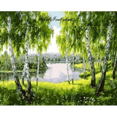 Рисуване по Номера (пълен комплект) - Под брезите край реката