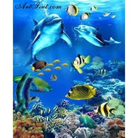 Рисуване по Номера (пълен комплект) - Делфини и приятели