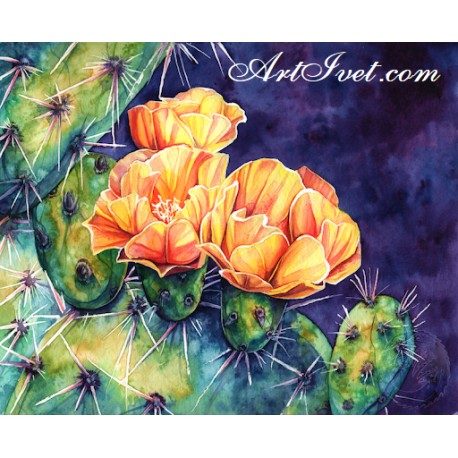 Рисуване по Номера (пълен комплект) - Оранжевите цветове на кактуса