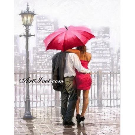 Рисуване по Номера (пълен комплект) - Обичам да вали, обичам и теб