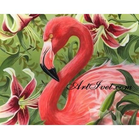 Рисуване по Номера (пълен комплект) -Розово фламинго и екзотични цветя