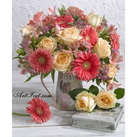 Рисуване по Номера (пълен комплект) -Нежни гербери и рози а