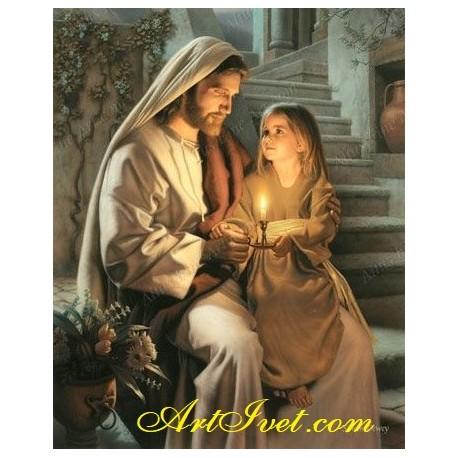 Рисуване по Номера (пълен комплект) -Исус дарява светлина
