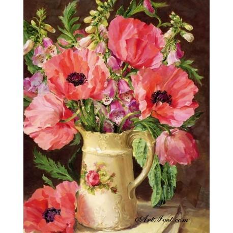 Рисуване по Номера (пълен комплект) -Кана с летни цветя