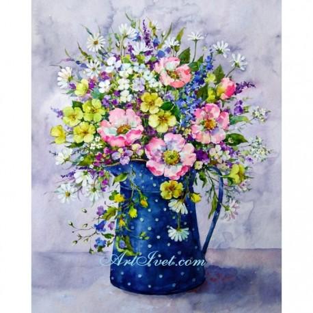 Рисуване по Номера (пълен комплект) - Синя кана на бели точки и пролетно настроение