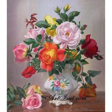 Рисуване по Номера (пълен комплект) - Букет от рози за красивата дама