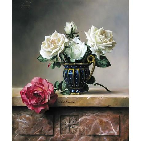 Рисуване по Номера (пълен комплект) - Белите рози за дамата с голямо сърце