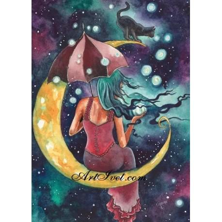Рисуване по Номера (пълен комплект) - Магьосницата и луната