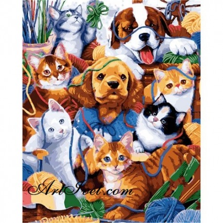 Рисуване по Номера (пълен комплект) - Писанки и кученца