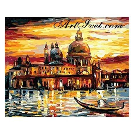 Рисуване по Номера (пълен комплект) - Златен залез във Венеция