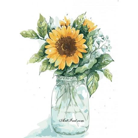 Рисуване по Номера (пълен комплект) - Слънчогледов букет в буркан