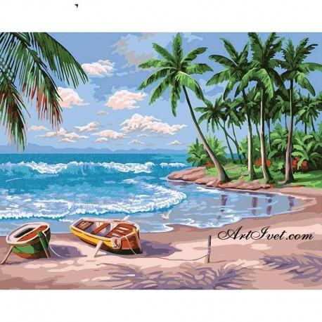 Рисуване по Номера (пълен комплект) - Карибския остров Саона
