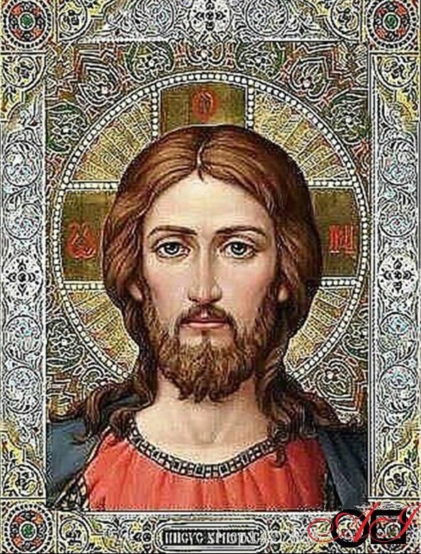 Диамантен  гоблен ИСУС - ЖИВИЯТ БОГ: Размер и Вид - Квадратни диаманти 32х24