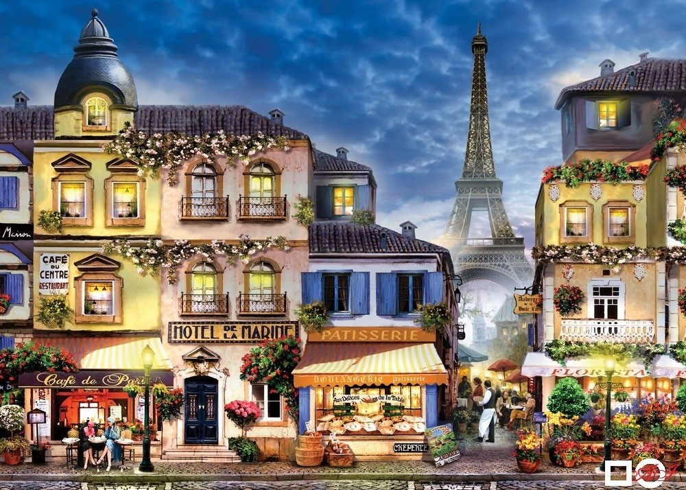 Диамантен гоблен УЛИЧКА В ПАРИЖ: Размер и Вид - Кръгли диаманти 40х30