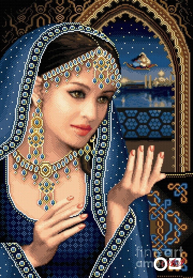 Елмазен гоблен ШЕХЕРЕЗАДА: Размер и Вид - Кръгли диаманти 40х32