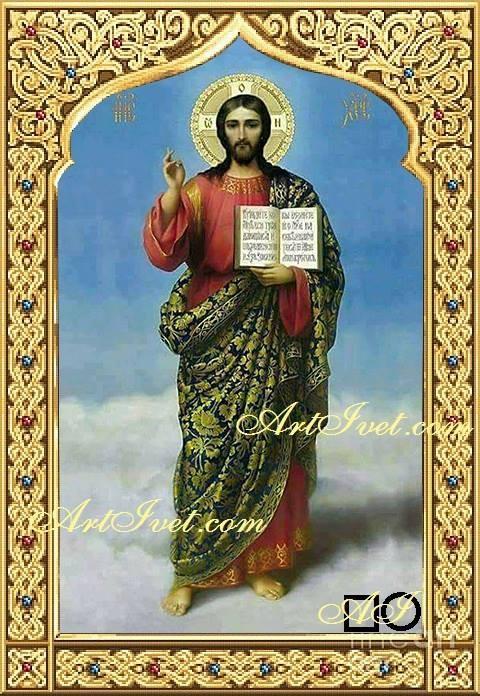 Диамантен гоблен  ИСУС ХРИСТОС - СВЕТЛИ ДА СА ДНИТЕ ВИ: Размер и Вид - Квадратни диаманти 50х35