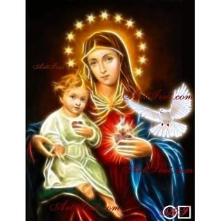 Елмазен гоблен  ДЕВАТА И ИСУС - ДОКОСНАТИ ОТ СВЕТИЯ ДУХ