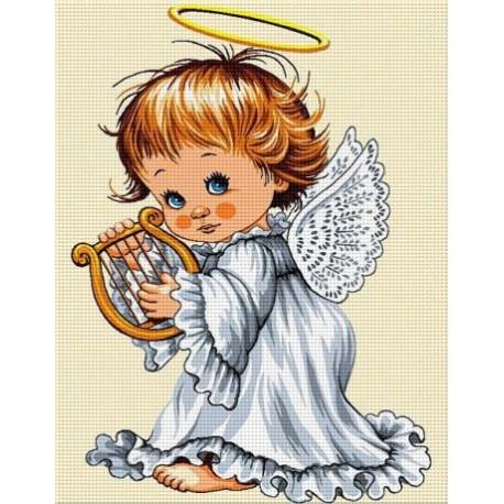 Гоблен Ангелче с арфа
